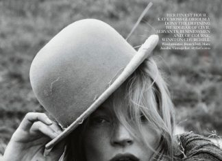 kate moss for vougue uk- cover with hat