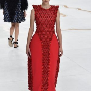 chanel couture paris fashion week red dress