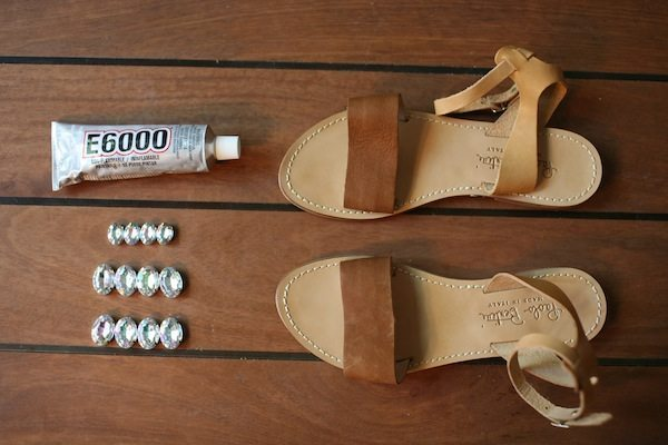 diy sandals stripes & sequins 2
