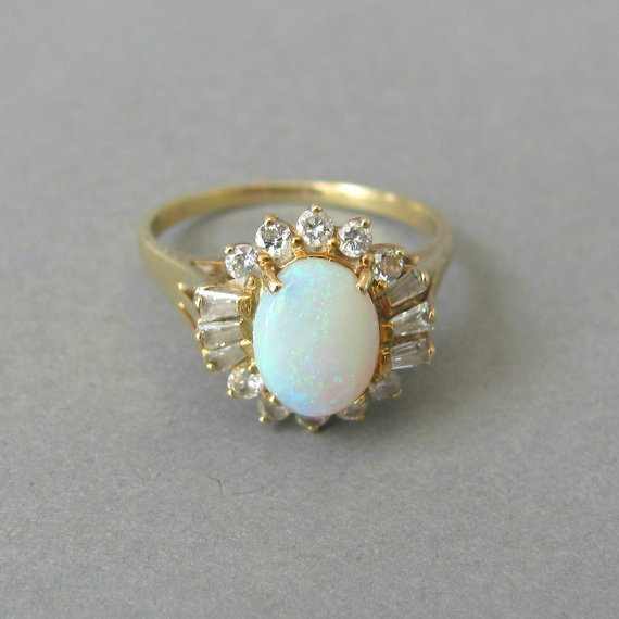 vintage engagement ring white